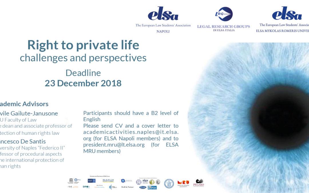 "Tutela dei Diritti Umani – ""Right to private life: challenges and prospectives"""